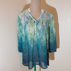 Chico sheer fading abstract pattern blouse Size 1